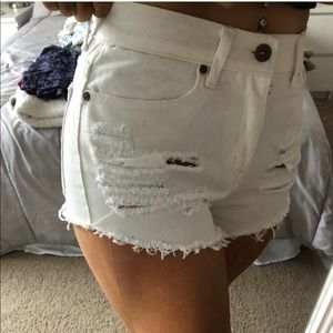Ripped White Denim Shorts